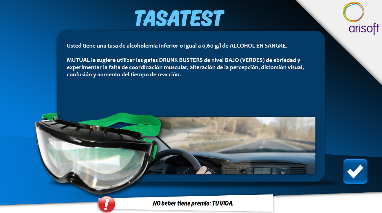 Seguridad vial gafas de alcohol